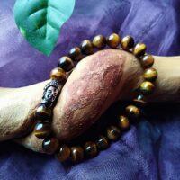 Bracelet  Oeil du tigre Perles 8mm et tête de Bouddha