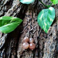 Boucles d'oreilles en Pierres de lune orangée
