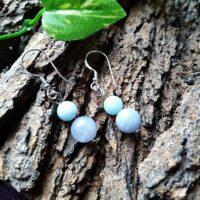 Boucles d'oreilles Double perles en Aigue Marine Détende et Expression
