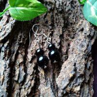 Boucles d'oreilles Double perles en Tourmaline noire