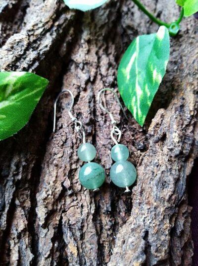 Boucles d'oreilles Double perles en Aventurine verte Anti-stress et Détende