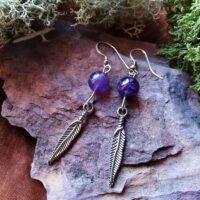 Boucles d'oreilles plume et perles d'Améthyste Intuition et sérénité