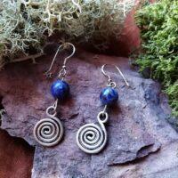 Boucles d'oreilles Spirale et Sodalite