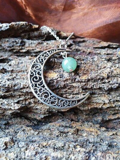 Pendentif  Lune et perle en Aventurine Verte Anti-stress et Apaisement