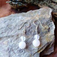 Boucles d'oreilles perles Double en Quartz rose