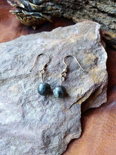 Boucles d'oreilles perles en Labradorite Protection Intuition