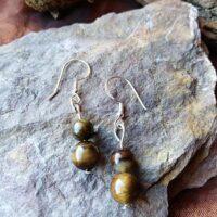 Boucles d'oreilles perles Double en Oeil de Tigre Protection