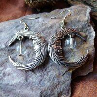 Boucles d'oreilles Lune Cristal de Roche Pierre universelle
