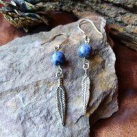 Boucles d'oreilles Plume et Sodalite