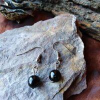 Boucles d'oreilles perles en Tourmaline Noire Protection