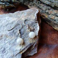 Boucles d'oreilles perles en Pierre de Lune Orangée