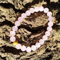 Bracelet Quartz Rose Perles de 8mm Apaisement, sérénité