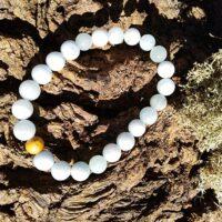 Bracelet  Aigue Marine perles de 8 mm Détende et Expression