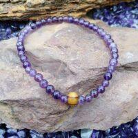 Bracelet  Améthyste perles 6 mm et perle bois Intuition et sérénité