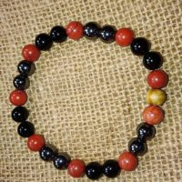 Bracelet Ancrage en perles de 8 mm – Jaspe rouge, hématite et tourmaline noire