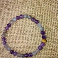 Bracelet Intuition en perles de 6 mm. Labradorite et Améthyste