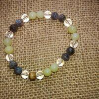 Bracelet thérapeute perles de 8 mm – Labradorite, péridot et cristal