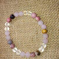 Bracelet Amour Quartz Rhodonite et Cristal de roche 8mm