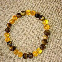 Bracelet confiance en soi en perles de 8 mm – Citrine et oeil de tigre