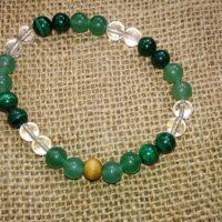 Bracelet Amour en perles de 8 mm. Aventurine verte, malachite et cristal