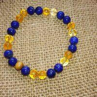 Bracelet Confiance en soi perles de 8 mm Citrine et Lapis-Lazuli