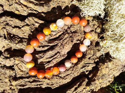 Bracelet énergie en perles de 8 mm. Jaspe rouge, cornaline, mookaite