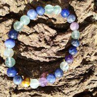 Bracelet étude en perles de 8 mm Fluorite et sodalite