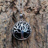 Pendentif arbre de vie en Tourmaline noire