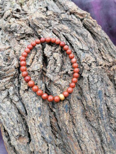 Bracelet  Jaspe rouge perles de 6 mm