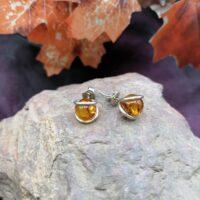 Boucles d'oreilles boule en Argent 925 et Ambre