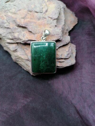 Pendentif rectangulaire en Aventurine Verte – Argent 925