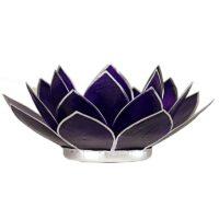 Porte bougie – Lotus violet et argent