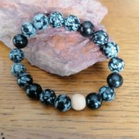 Bracelet Obsidienne Flocons – 10 mm