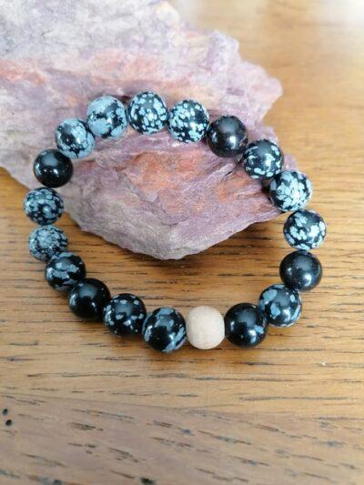 Bracelet Obsidienne Flocons – 10 mm