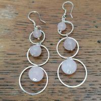 Boucles d'oreilles pendantes en Quartz Rose
