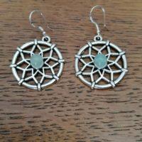 Boucles d'oreilles Mandala en Aventurine Verte