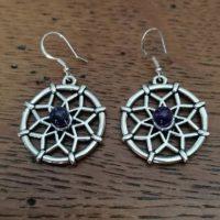 Boucles d'oreilles Mandala en Améthyste