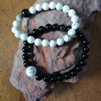 Bracelets pour Couple – Howlite et Tourmaline noir