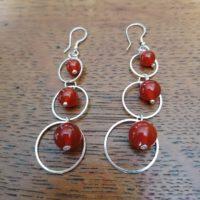 Boucles d'oreilles pendantes en Cornaline
