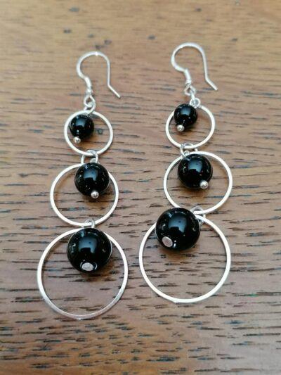 Boucles d'oreilles pendantes en Tourmaline noir