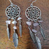 Boucles d'oreilles Attrape Rêves en Quartz Rose