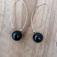 Boucles d'oreilles balance en Onyx – Argent 925