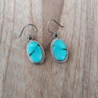 Boucles d'oreilles en Véritable Turquoise – Argent 925