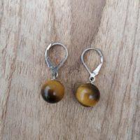 Boucles d'oreilles Boules en Oeil du tigre – Argent 925