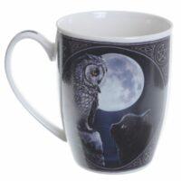 Mug en Porcelaine Tendre – Hibou et Chat par Lisa Parker