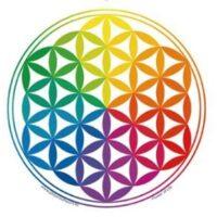 Stickers Fleur de Vie arc-en-Ciel  – 12 cm