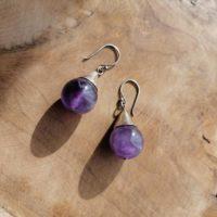 Boucles d'oreilles grosses boules en Améthyste – Argent