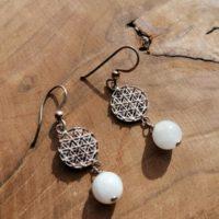 Boucles d'oreilles Fleur de Vie Pierre de Lune – Argent