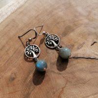 Boucles d'oreilles Arbre de Vie Labradorite – Argent