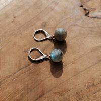Boucles d'oreilles Boules en Labradorite – Argent